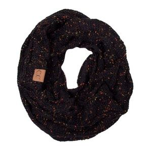 NWT C.C Confetti Cable Knit Infinity Scarf Black